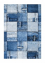Dywan 160 x 230 cm (wilton) - Indigo Denim Patch (niebieski)